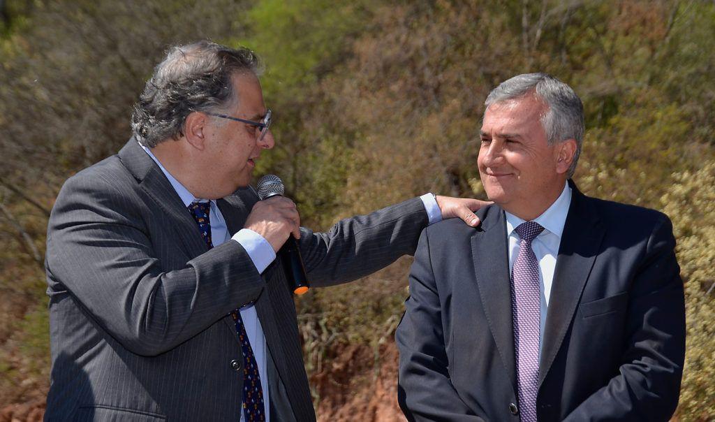 El Gobernador Gerardo Morales y el titular de la UCAR Alejandro Gennari en Arroyo Colorado.