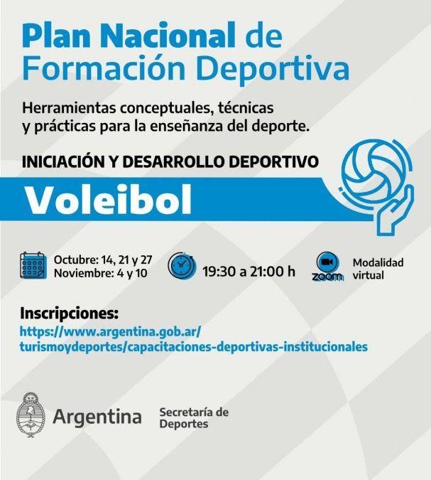 Se dictará capacitación de Voleibol en el marco del Plan Nacional de Formación Deportiva