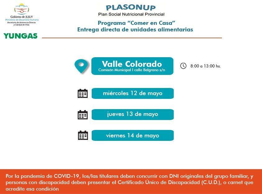 Unidades Alimentarias para Valle Colorado y Valle Grande