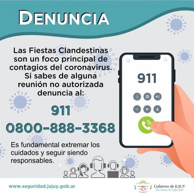 Números telefónicos para denunciar fiestas clandestinas