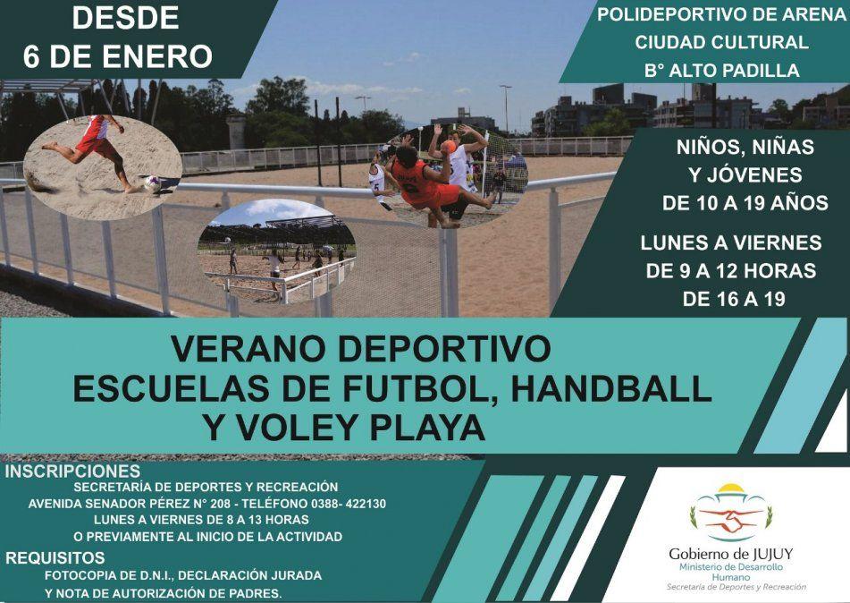 Continúan las inscripciones del Programa Provincial Verano Deportivo Escuelas de futbol, handball y vóley playa