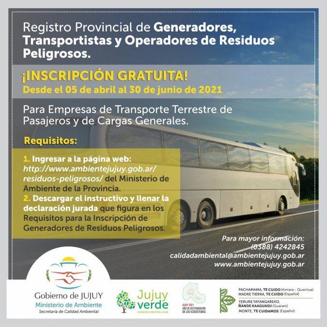 Inscripción en el Registro Provincial de Generadores, Transportistas y Operadores de Residuos Peligrosos