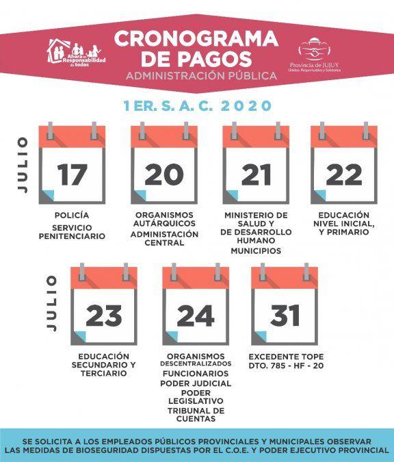 Cronograma de pago de aguinaldo