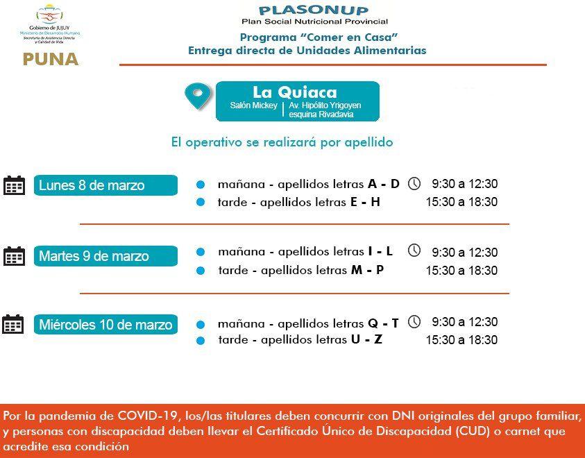 Cronograma de entrega de Unidades Alimentarias en La Quiaca