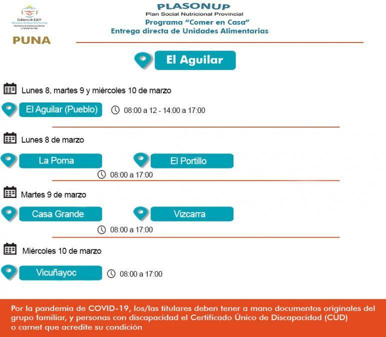 Cronograma de entrega de Unidades Alimentarias en El Aguilar