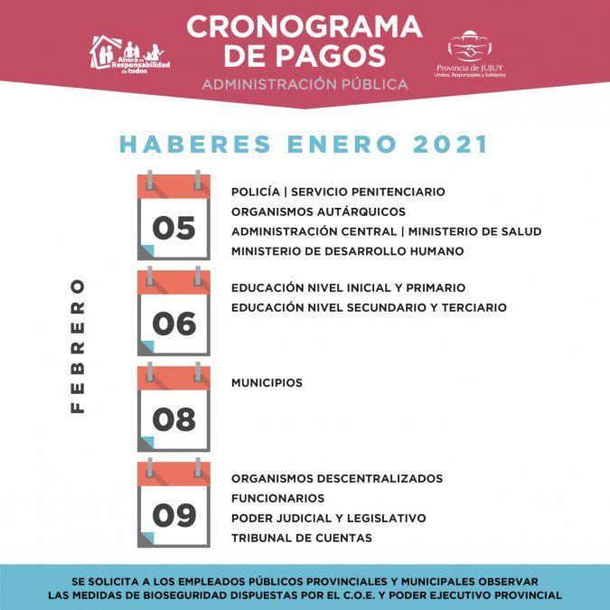 Cronograma de pagos correspondiente a enero del 2021