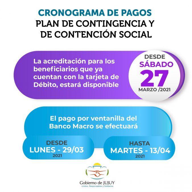 Pago del Plan de Contingencia y Contención Social