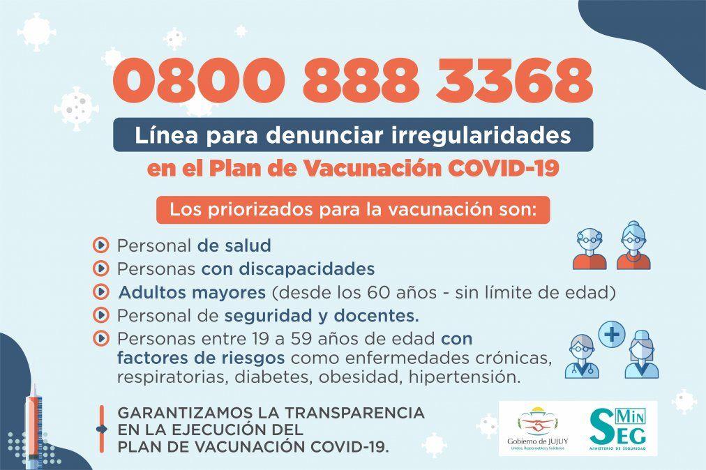 Plan de Vacunación COVID-19: Línea telefónica para denunciar irregularidades