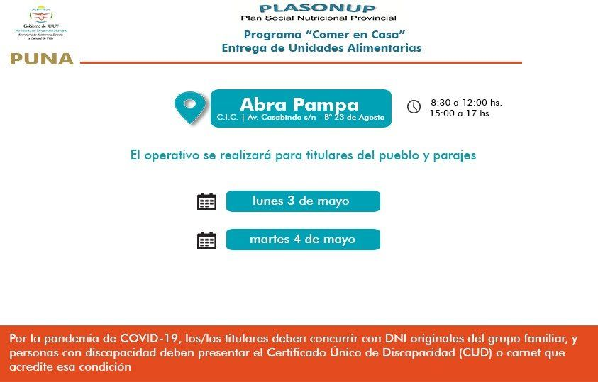 Entregarán Unidades Alimentarias en Susques, Hipólito Yrigoyen y Abra Pampa