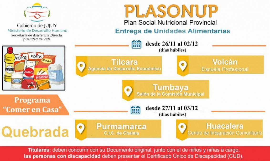 Desde hoy se realiza la entrega de Unidades Alimentarias en la Quebrada