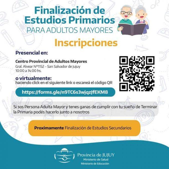 Convocan a adultos mayores para Finalización de Estudios Primarios