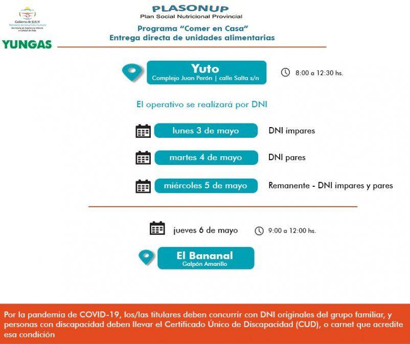 Entregarán Unidades Alimentariasen Yuto, Rodeito y Santa Clara