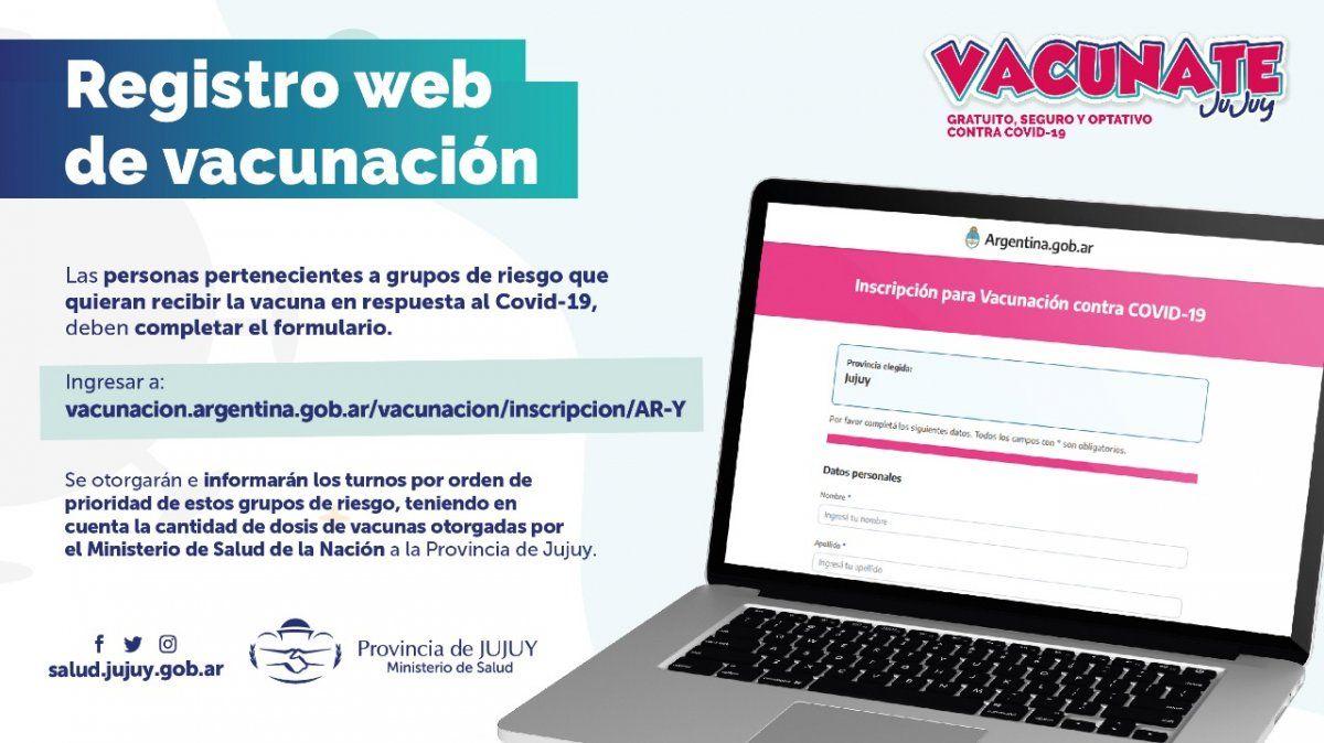Se habilita registro web para quienes deseen recibir la vacuna