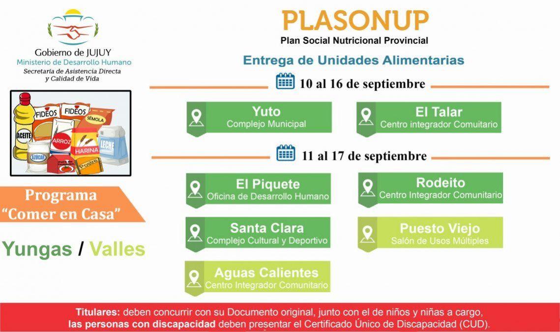 Entrega de Unidades Alimentarias en localidades de Yungas y Valles