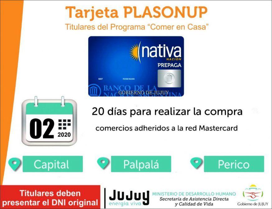 Se encuentra acreditada la Tarjeta PLASONUP para Capital, Palpalá y Perico