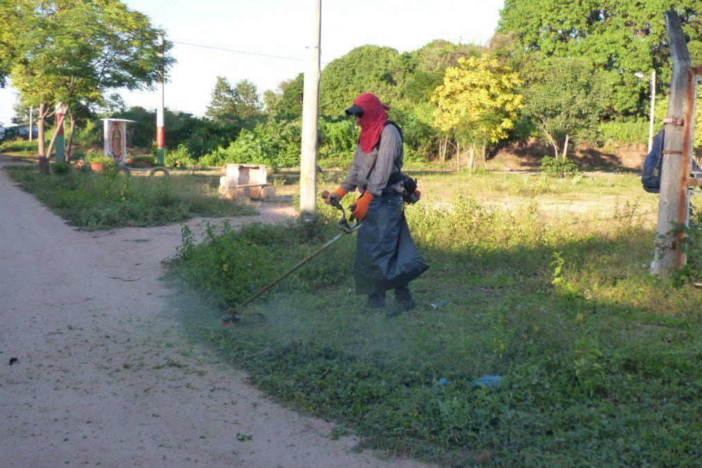 """""""Potenciar Trabajo"""" ejecuta tareas de desmalezado para la lucha contra el dengue en Yuto."""
