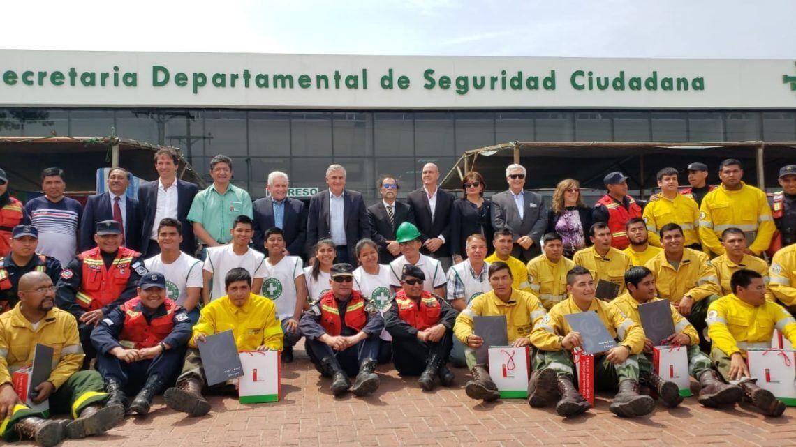 Relevo de brigadistas jujeños en Bolivia