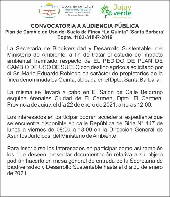 CONVOCATORIA A AUDIENCIA PÚBLICA