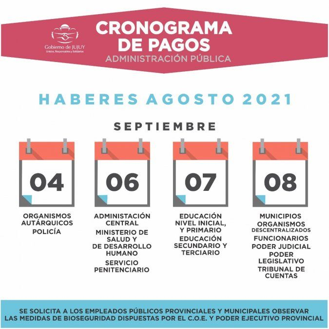 El sábado 4 de septiembre comienza el cronograma de pagos
