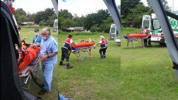 Rescatan en helicóptero a paciente politraumatizado desde Valle Grande