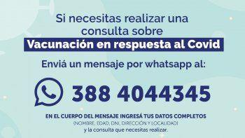 Consultas por vacunación podrán realizarse vía WhatsApp